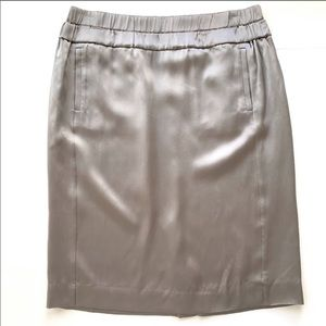 J. Crew Silver Silk Skirt